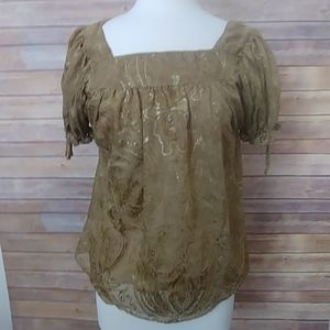 Nicole by Nicole Miller  Sheer Gold Blouse Size 4